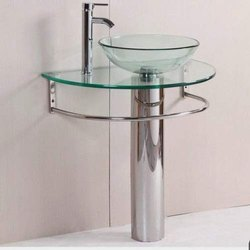 Clear Batala SetGlass Round Vessel/Table Top Wash Basin with Bowl, Self and Steel Stand (Clear)