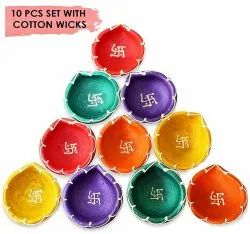 Round Brown Handmade Traditional Terracotta Clay Diya. Multicolor-10 Pc Set, Finish Type: Painted