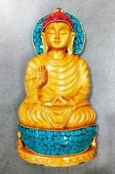 Wooden Buddha Statue With Stone Work