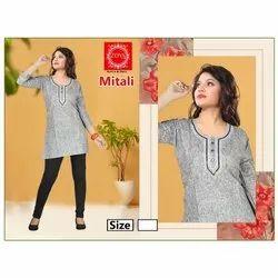 Khadi Cotton Zoya Short Cotton Kurti, Machine wash