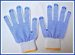White On Blue Dotted Hand Gloves 50 Gram