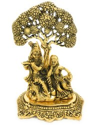 Gold Plated Radha Krishna with Tree Statue