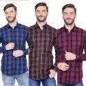 FnX Men's Twill Checkered Full Sleeves Casual Shirt