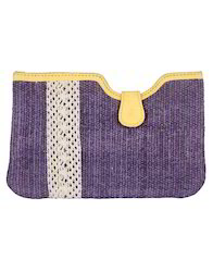 Lavender And Yellow Cotton Durrie Lace Work Yellow Women Hand Pouch Bags, Bag Size (Inches): L-8 X W-5.2