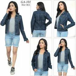 Casual Jackets Blue Denim Jacket For Women, Size: M & L