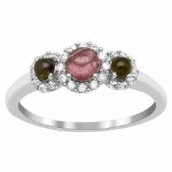 Trio Stone Ring  0.760 Ctw Multi Tourmaline Gemstone 925 Sterling Silver Ring