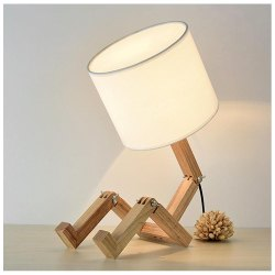 Foldable Robot Wooden Table Lamp