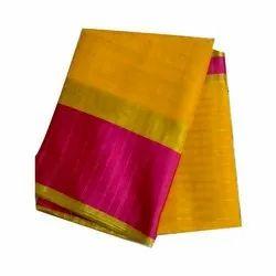Plain Casual Wear Manipuri Silk Saree, With blouse piece, 6.3 Meter