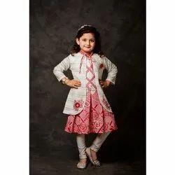 Kids Girl Designer Western Leggings With Frock Set