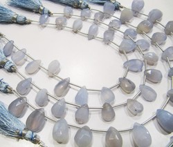 Natural Blue Chalcedony Pear Shape Beads