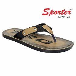 Sporter Men/Boys Black-PU-2 V Shape PU Slippers