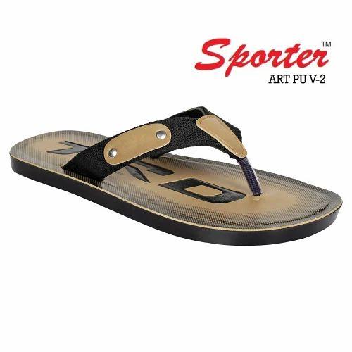 b48cdf8bb1df Sporter Men/Boys Black-PU-2 V Shape PU Slippers, Size: 6*10, Rs 110 ...