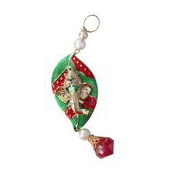Green, Red etc. Plastic Ganesh Key Chain, Packaging Type: Packet