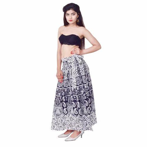 194701252f9 Black   White Printed Cotton Long Wrap Skirt