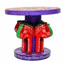 Handmade Handpainted 4 Headed Elephant Stool Home Decorative Item Home Decor Showpiece