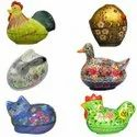 Hand Painted Home Decor Paper Mache Animal Shape boxes Hen Rooster Duck Rabbit Cat Chicken