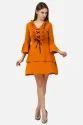 Crepe Designer Ruffle Short Dress