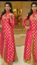Silk Party Wear Golden & Pink Long Shrug Dress, For Adult