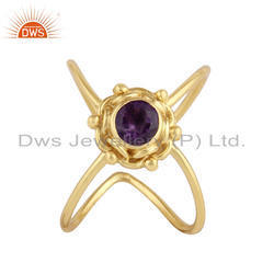 Purple Amethyst Gemstone Yellow Gold Plated 925 Silver Designer Rings