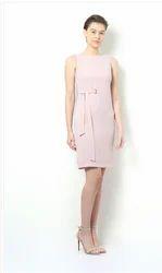 Polyester Solid Van Heusen Pink Dress