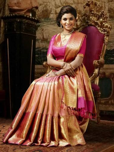 Party Wear Real Zari Gold Pure Kanchipuram Silk Sarees Rs