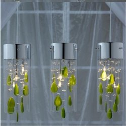 LED Glass and SS Designer Hanging Chandelier Light