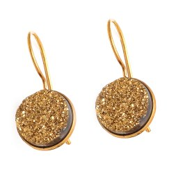 Titanium Round Druzy Earrings