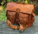 Brown Unisex Leather Messenger Bag