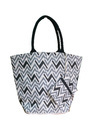 Jute Bag with Webbing Cord Handle and Zig Zag Print