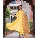 Stitched Plain Ladies Yellow Frock Style Kurti, 80-120 Gsm