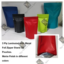 3 Ply Foil Laminated Multi Color Zipper Stand Up Pouches In Matte Finish