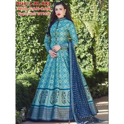 Full Sleeves Stitched Ladies Printed Long Gown