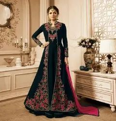 Gown With Koti Heavy Embroidery Work Party Wear Gown, Size: Free Size
