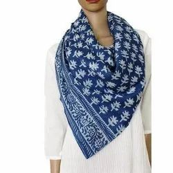 Casual Wear Ladies Blue Malmal Cotton Printed Stole
