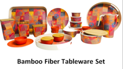Natural Printed Living Leaf Bamboo Fiber Tableware, Capacity: Good