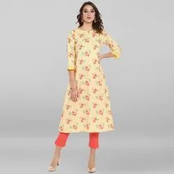 Janasya Women's Yellow Poly Crepe Kurta
