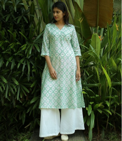 7fe247ec65fd08 Long Kurtis - White And Sea Green Printed Cotton Flared Kurta ...