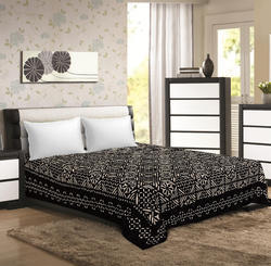 Saavra Black Color Multicut Work Cotton Double Bedsheet