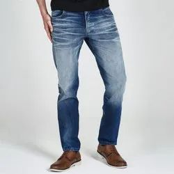 Comfort Fit Mens Faded Denim Jeans