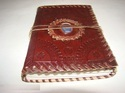 Vintage Handmade Leather Journal with Blue Stone