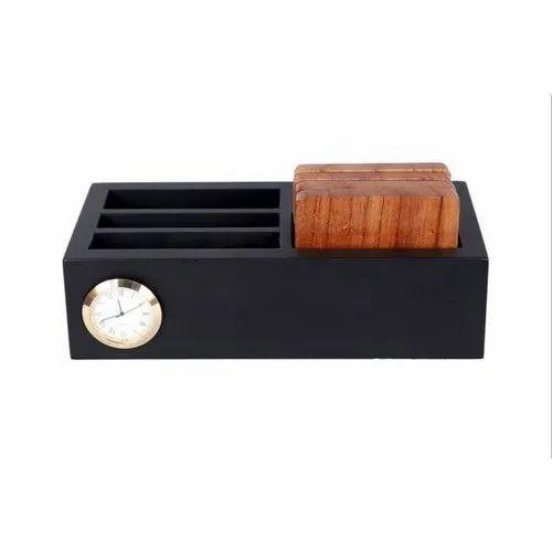 Black Wooden Desk Organizer With Clock