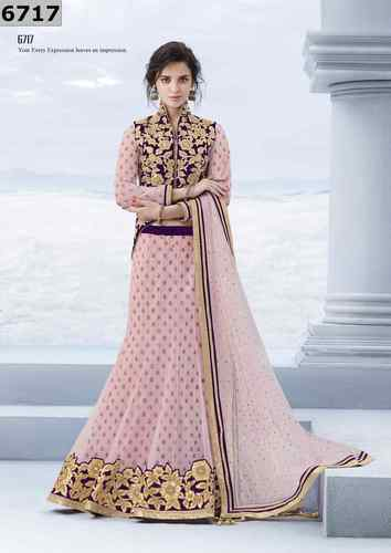 3e9d21e73a Festive Party Wear Net Designer Wine & Pink Colored Lehenga Choli ...