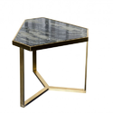 Stainless Steel Metal and Granite Top Coffee Table Golden Finish