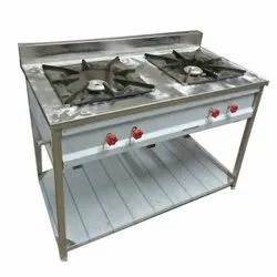 Stainless Steel Silver SS Double Burner Gas Stove