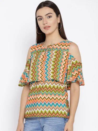 861822e45c279b Cottinfab Women  s Black Viscose Rayon Printed Cold Shoulder Top