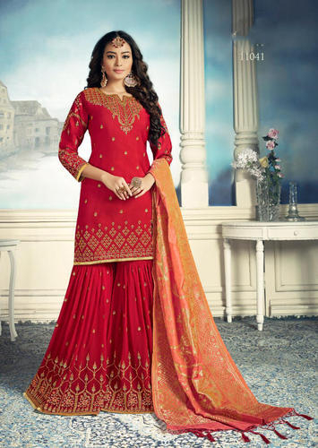 568a829f0d Georgette Stylish Wedding Wear Embroidered Semi-Stitched Sharara