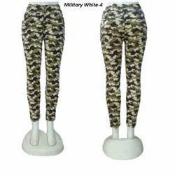 Zipper Slim Military White Cotton Jeans For Women