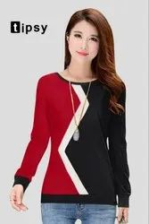 Red And Black Western T Shirt For Girls