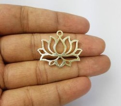 Gold Plated Brushed Lotus Flower Charm