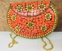 Orange and Golden Mosaic Metal Clutches